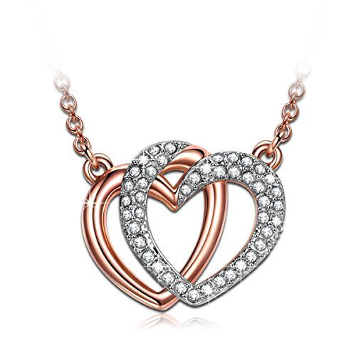 "J.NINA ""Guardian of Love"" Rose Gold Plated Jewelry, Made with Swarovski Crystals, Women Pendant Necklace"