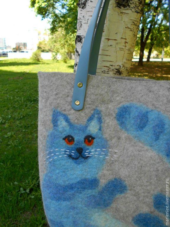 """Купить Сумка """" Кот,который всегда со мной!"""" валяная - голубой, бежевый, меланж"""
