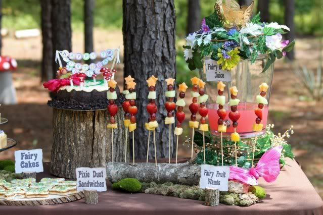 tinkerbell party table | tinkerbell or fairy birthday party food table idea