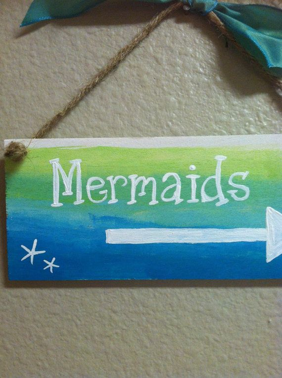 Mermaid beach sign Wood beach signs with sayings by DebDebsCrafts
