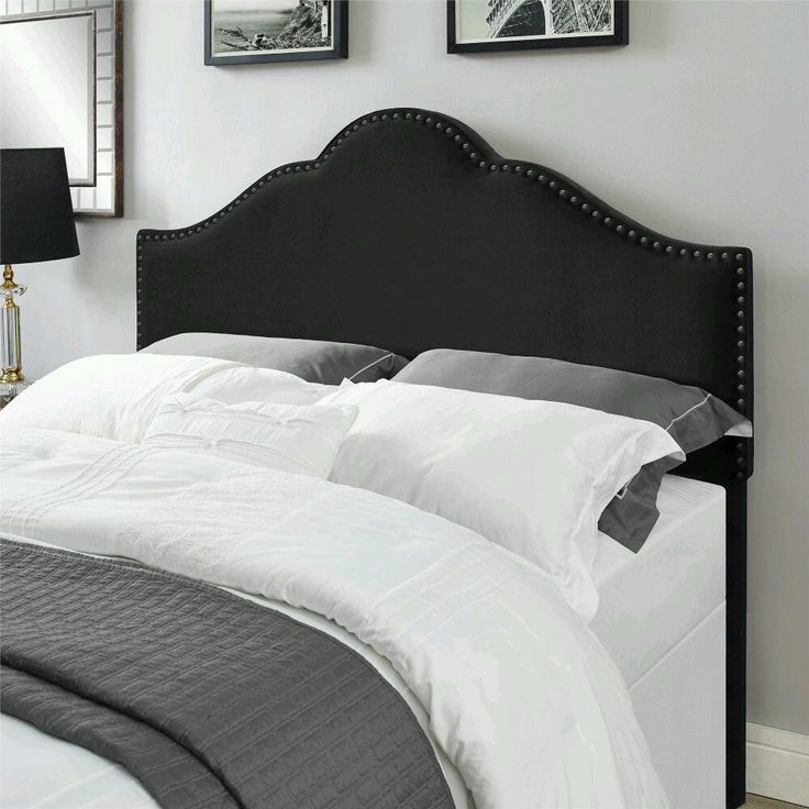 New Black Queen Headboard Decorative Nailheads Bedroom Full Bed Upholstered  #Contemporary