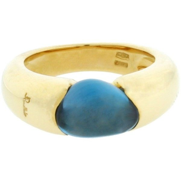 Pre-owned Pomellato Sassi 18K Yellow Gold Blue Topaz Ring ($1,599) ❤ liked on Polyvore featuring jewelry, rings, blue topaz rings, gold ring, pre owned rings, blue topaz gold ring and pomellato ring
