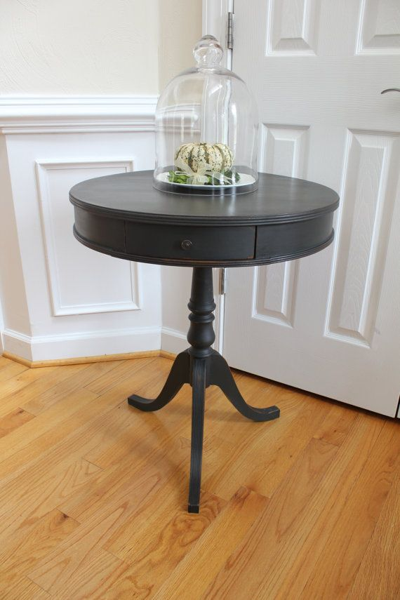 Vintage Drum Side Table - Annie Sloan Chalk Paint - Graphite - Nightstand - Hall Table