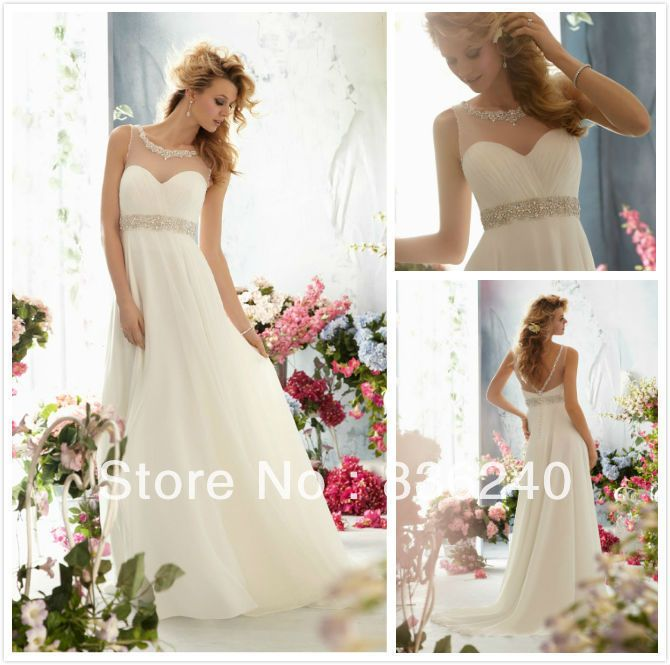 2014 Custom Made White Ivory Chiffon Royal Modern Open Back See Through Top Wedding Reception Dresses