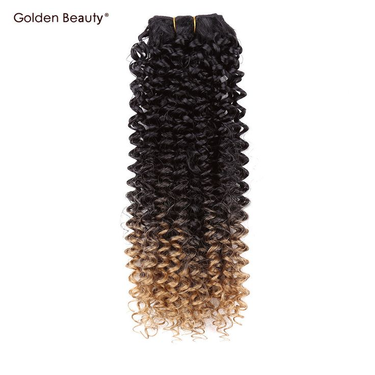 Golden Beauty 8-14inch Ombre Weave Boudles Synthetic Hair Weave  Jerry Curly Sew in Hair Extensions