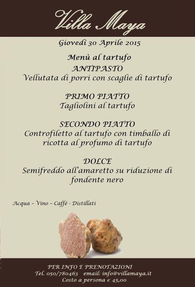 Giovedì 30 Aprile speciale #cena a Villa Maya! Menù al #tartufo per i palati più esigenti! Scopri l'offerta al tartufo di Gusti di Toscana! http://www.gustiditoscana.it/catalogsearch/result/?q=tartufo #madeintuscany #eventi
