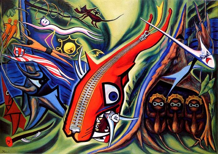 Taro Okamoto 1950 Law of the Jungle. Amazing painting in person.