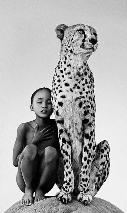Africa portrait- leopard and child - with the sitting leopard gently towering over the sitting child. -DdO:) - http://www.pinterest.com/DianaDeeOsborne/big-cats-little-cats/ - photo pin via cutebabyanimalsgallery796