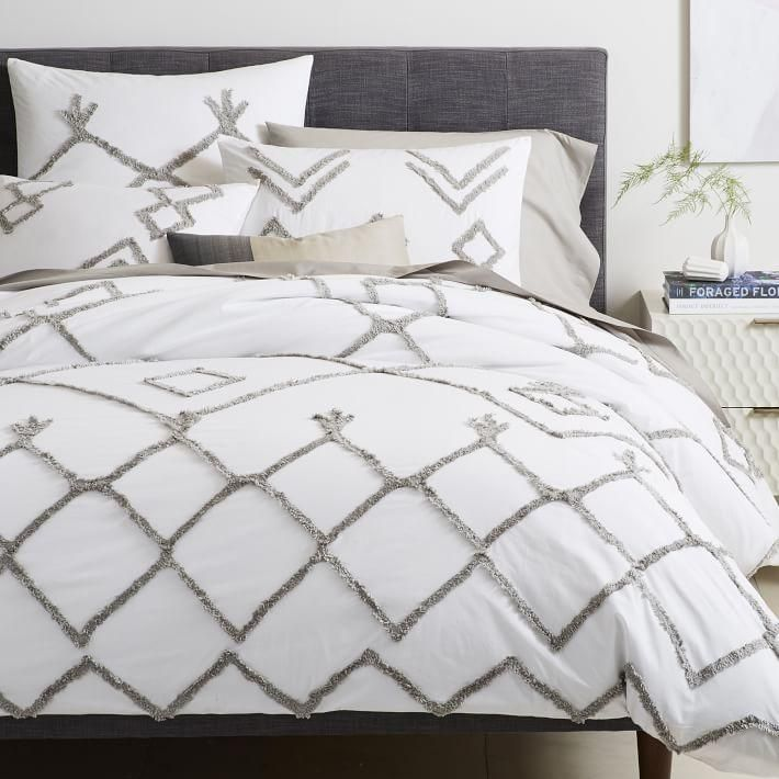 White Gray Diamond Lattice Candlewick Bedding