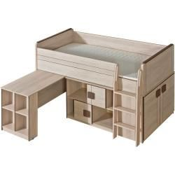 Funktionsbett Kinderbett Hochbett Kombination Mit Bettkasten Kommode Und Schreibtisch Elias 1 In 2020 Bed Desk Kids Furniture Sets Loft Bed