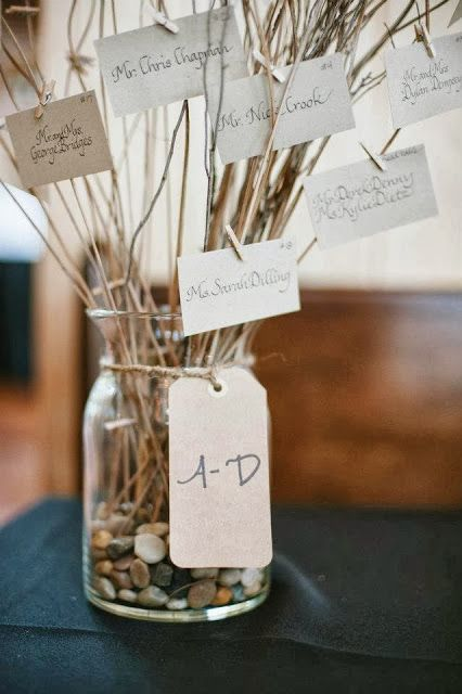 Place Card Seating Idea :: Use a Jar and Branches for holding your Guest's Place Cards.
