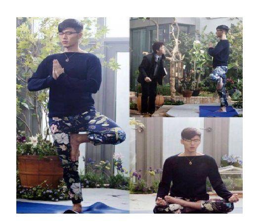"""Hyun Bin ha empezado a practicar yoga para el próximo drama de SBS, """"Hyde Jekyll, Me"""". El actor se asegura de mostrar su lado gracioso, con su vestimenta y poses de yoga, porque sabe muy bien lo qu..."""