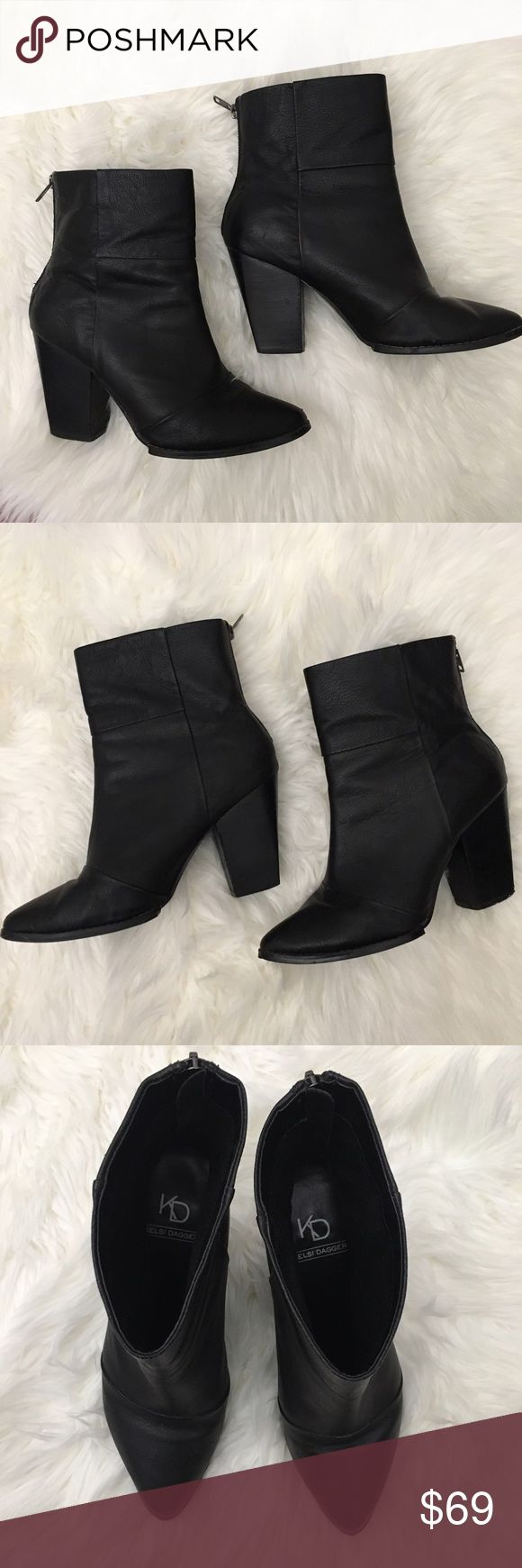 Kelsi Dagger Zidane Leather Black Boots These boots look amazing and are very comfortable. They have been used but have lots of life left. There are some scuffs here and there but nothing a buffing can't fix. Offers welcome. Brand is sold at anthro and urban outfitters Urban Outfitters Shoes Ankle Boots & Booties