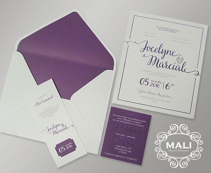 Parte de matrimonio en color morado y gris sobre cartulina blanca.  Facebook: mali.matrimonio MALI Partes de Matrimonio Lima, Perú