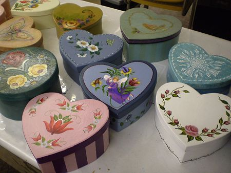 Pretty painted heart boxes