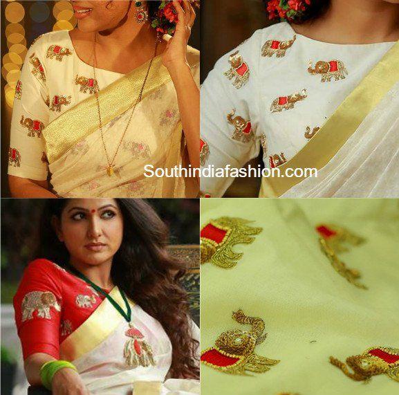 Elegant designer blouses featuring elephant motifs embellished with zardosi, beads, designed by Poornima Indrajith of Pranaah.