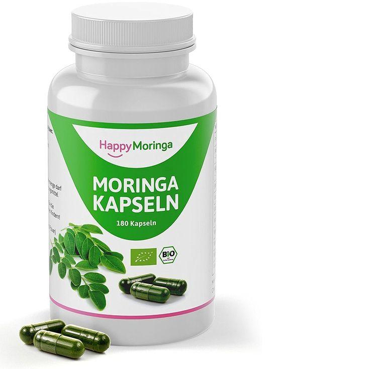 Moringa Kapseln Bio von Happy Moringa - 180 vegane Bio Moringa Kapseln hochdosiert - Moringa Kapseln oleifera à 450 mg in Bio Qualität aus reinem Bio Moringa Pulver. Moringa olifeira ist absolut natürlich & 100% Happy!