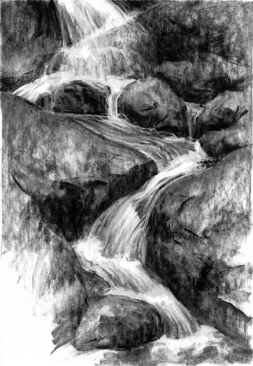 Spring runoff leaps from side to side in a graphic exercise of passive rocks and laughing water. [Amazing Art by Doug Flückiger]