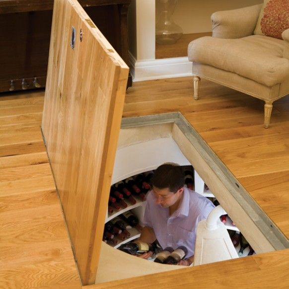 "Trap Door Wine Cellar Design - ""Here are some novel spiral wine cellars from the UK based company 'Spiral Cellar', that would be for those wishing to indulge in building a luxury cellar for more than 1000 bottles of wine."""