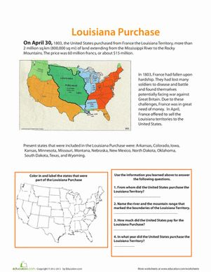 Fourth Grade Social Studies History Worksheets: The Louisiana Purchase