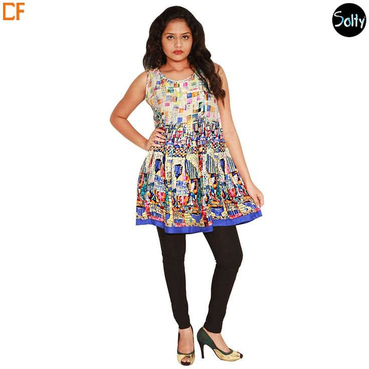 Multicolored Abstract printed kurti in cotton material. Opt for cotton as it is a natural product and has many advantages, such as, it's ability to control moisture, insulate, weatherproof and a durable fabric. The short kurti has a round neckline, sleeves, piping around the neckline and hems, and multicolored abstract prints throughout giving it a trippy look. http://www.droomfashion.com/shop/brands-kurtis/multicolored-abstract-printed-kurti/