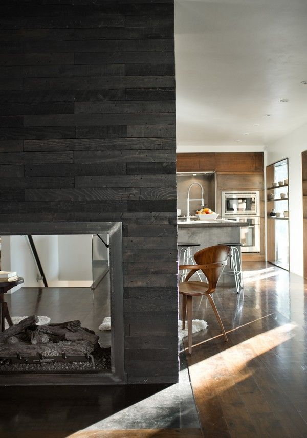 Modern fireplace: neutral color palette of natural materials. http://cityhomecollective.com/blog/3602-apollo-dr/
