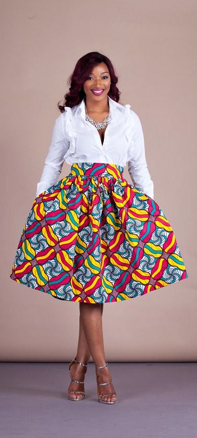 "Matty Skirt. Relaxed yet sophisticated and, best of all, universally flattering – just look how it nips in the waist – a full, high waisted skirt is an instant game-changer with two side pockets and approximately 2"" waist band. Ankara 