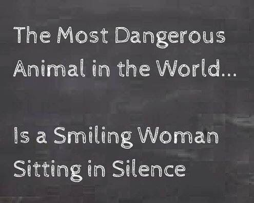 Silent smiling woman