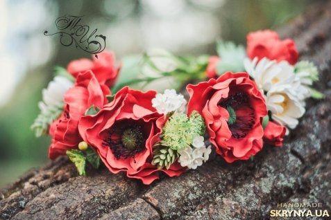 Маков цвет – венок из фоамирана