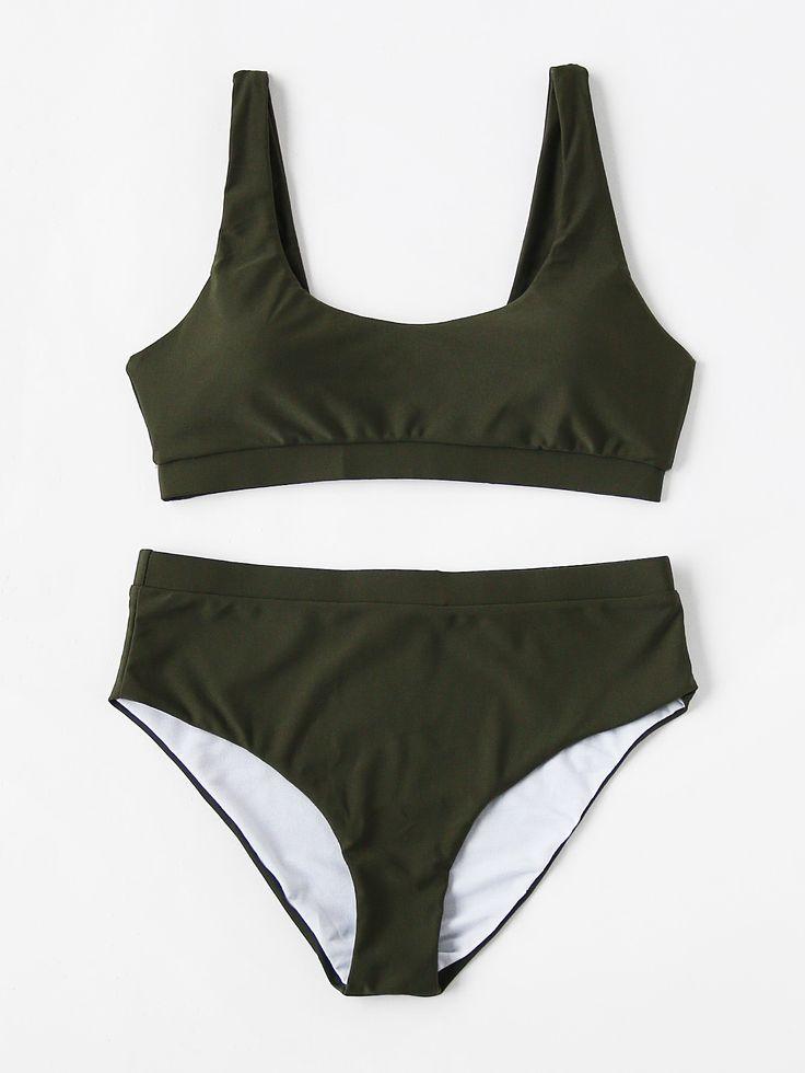 Scoop Neck High Waist Bikini Set Mobile Site
