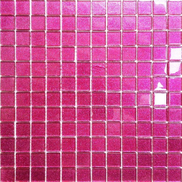 Glitter Pink Glass Feature Walls Borders Splashbacks Mosaic Tiles Sheet MT0018 in Home, Furniture & DIY, DIY Materials, Flooring & Tiles | eBay