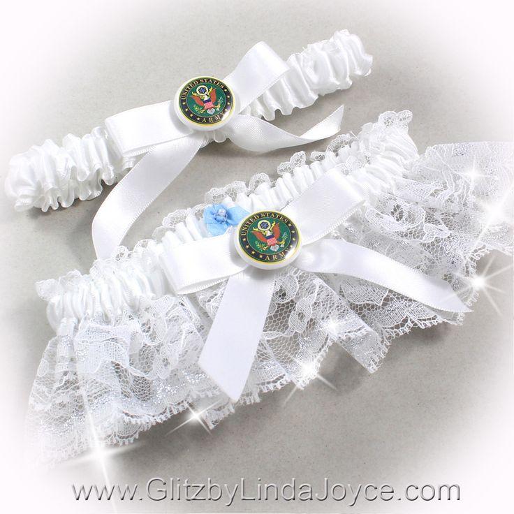 Air Force Wedding Garter: US Army Wedding Garter Set White