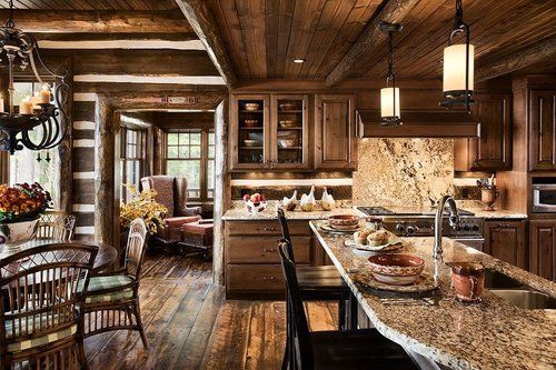 343 best lodge style kitchens baths images on pinterest for Log cabin kitchens and baths