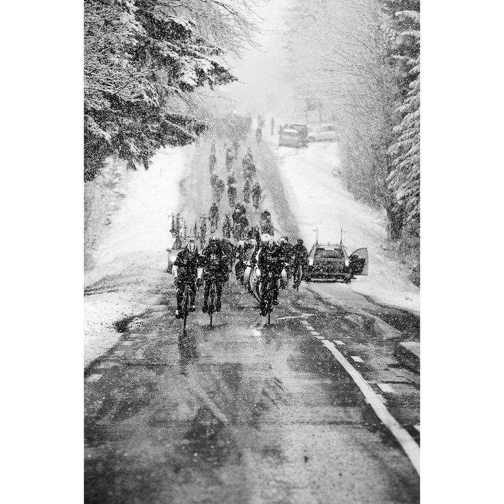 Winter training in Spring on the climb up Mont Brouilly. Paris-Nice 2016.