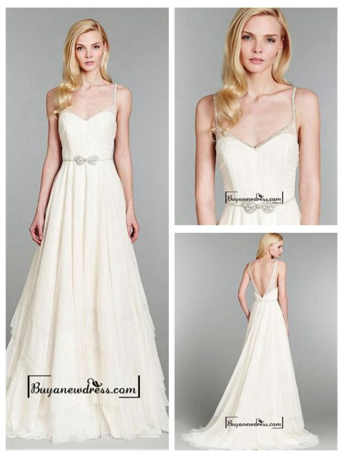 Attractive Tulle & Satin A-line Spaghetti Straps Natural Waistline Wedding Dress