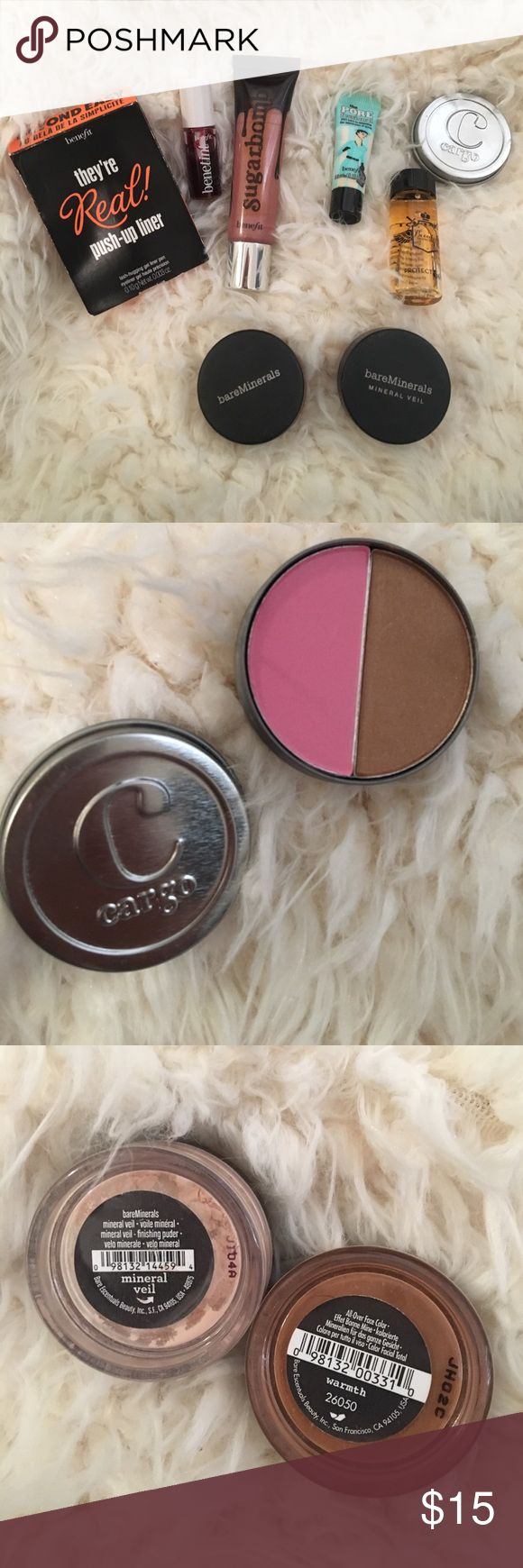 """SALE! Benefit And bare minerals Bundle! Great bundle of some trial / travel size items, mostly from Benefit! Everything is NWOT except for two bare minerals items (""""warmth"""" powder for bronzing and lowlights and the mineral veil for highlighting), bare minerals powders used 1-2 times each. Bundle includes: Bare Minerals warmth and mineral veil; benefit porefessional, eyeliner, benetint and sugar bomb lip gloss (all unused, brand new); cargo blush bronzer duo (unused in Catalina & Medium); and…"""