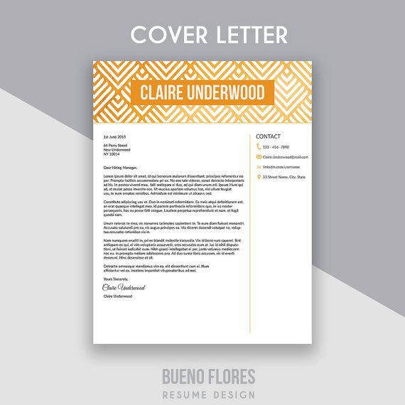 """Introducing """"Claire Underwood"""", an elegant feminine multipurpose design, which includes a two page resume/cv and cover letter."""