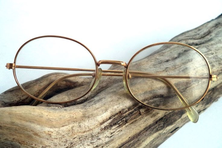 1960s 70s Art Line Gold Wire Rim Eyeglasses Oval Gold Filled 50-18 Sunglasses…