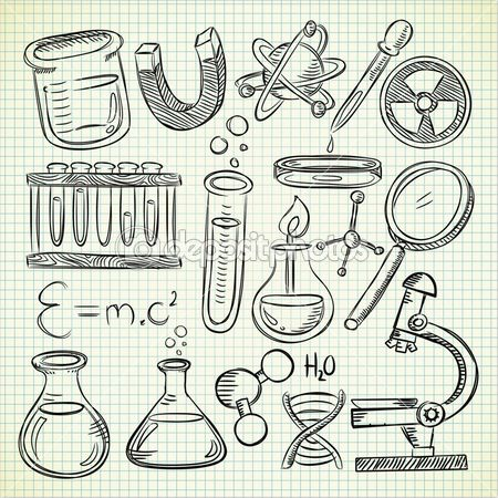 Set of science stuff in doodle style