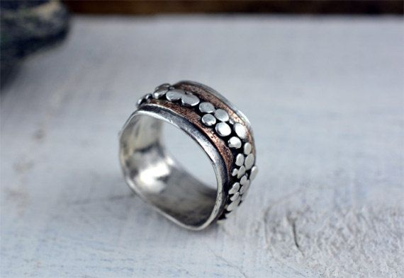 Pebble Ring Sterling Silver with a Gold Fill accent