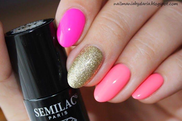 Stylizacja i Pielęgnacja Paznokci Naturalnych : Hybrydowe Trio ♥ Pink Doll, Intesive Pink, Gold Disco