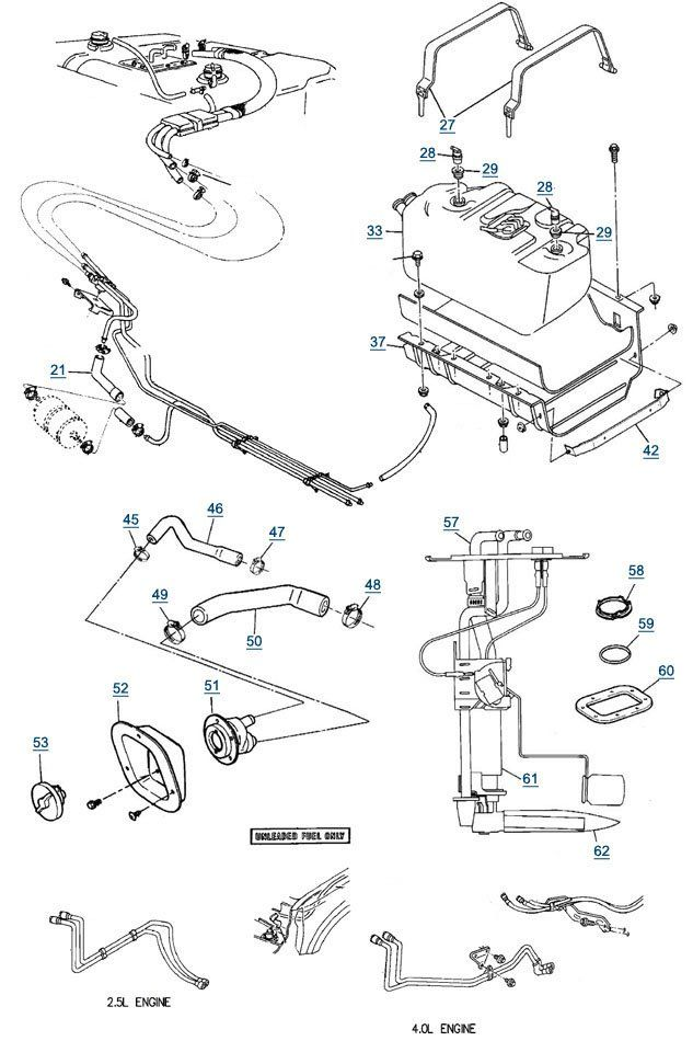 1987-1995 Jeep Wrangler YJ Fuel Lines, Fuel Pumps & Fuel