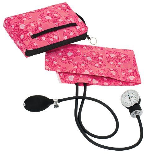 Prestige Medical 882-HPH Premium Aneroid Sphygmomanometer with Carry Case, Hot Pink Hearts by Prestige Medical. $28.80. Lifetime Calibration Warranty. Latex free inflation system. 6 x 9 Color coordinated carrying case. Gauge holder and artery label. Adult cuff with index and range markings. Featuring our most popular nylon aneroid, this set includes an extra large 6 x 9 matching colored nylon carrying case with an outer Velcro pocket, nylon handle, and zippered stor...
