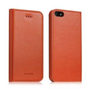 """iPhone 5 Etui Luxe Portefeuille GGMM """"Kiss"""" en Cuir Orange Fait Main + Protection écran"""