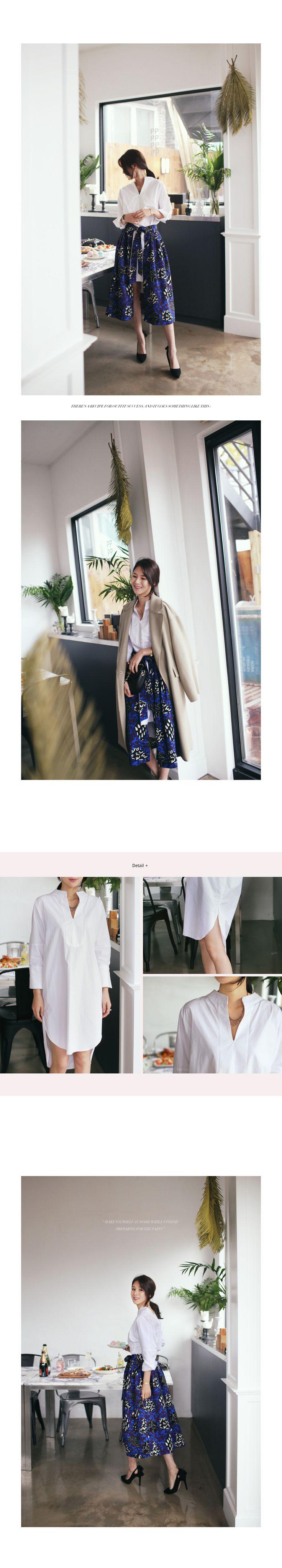 アンバランスネックスリットロングシャツ・全2色シャツ・ブラウスシャツ レディースファッション通販 DHOLICディーホリック [ファストファッション 水着 ワンピース]
