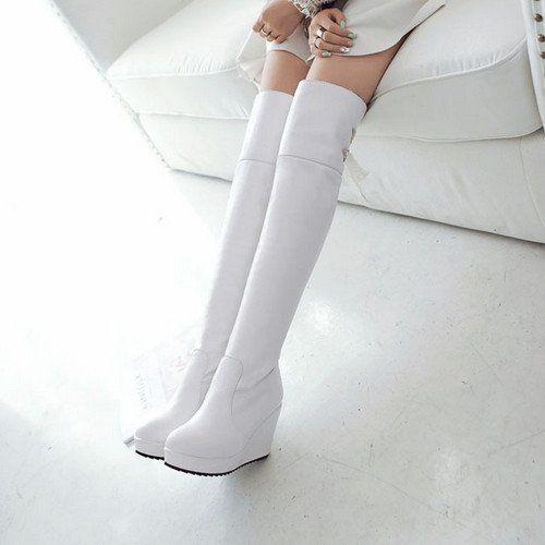 Winter Women Thigh High Boots Wedges Platform Shoes Woman 2016 3492