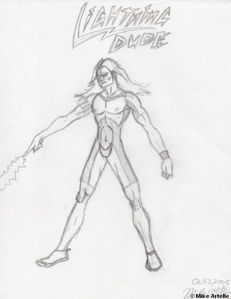 Lightning Dude rough drawing, 2005. By Mikey Artelle