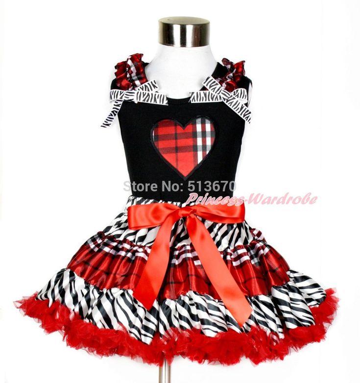 Рождество валентина проверка в форме сердца черный майка зебра красный черный плед юбка комплект 1-8Y MAPSA0209