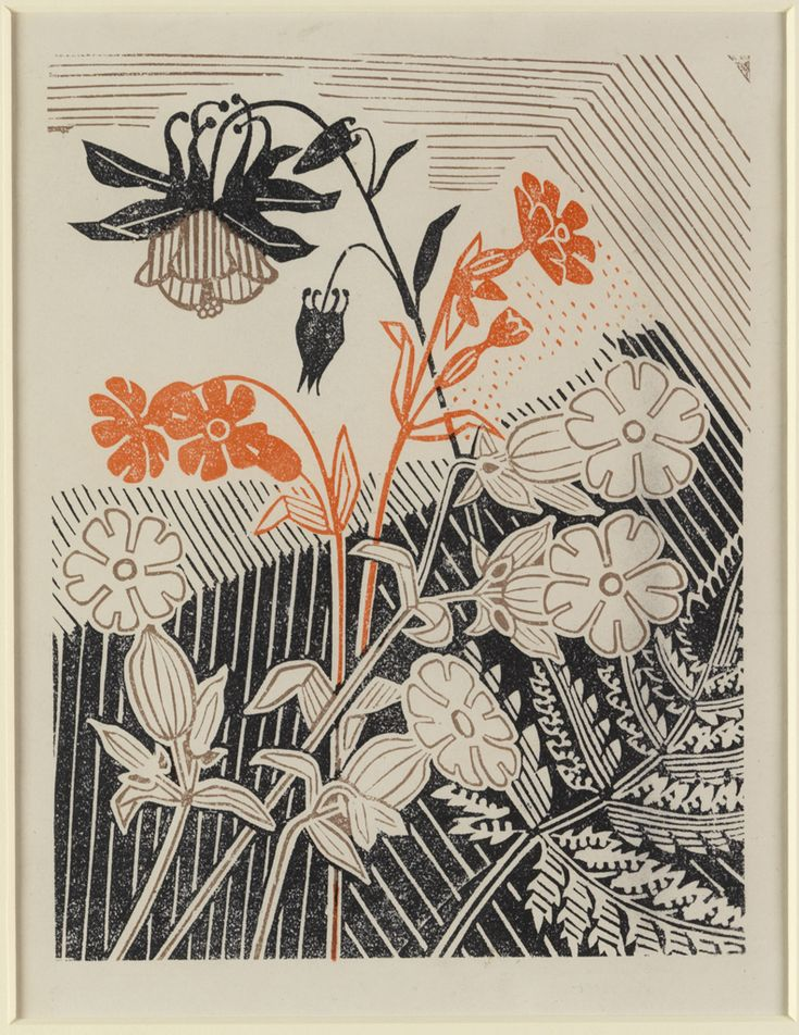 Edward Bawden (English, 1903-1989). Campions and Columbines. 1947. Linocut.