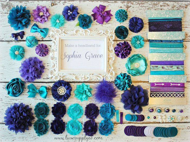 Teal and Purple - Baby Shower DIY Headband Making Kit - Peacock - Mermaid - First Birthday Party - Headband Station - MAKES 25+ HEADBANDS! https://www.etsy.com/listing/486275179/headband-grab-bag-set-of-twelve-12?ref=shop_home_active_5